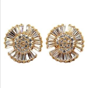 Fashion windmill crystal gold earrings